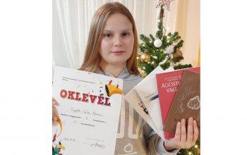 Snejder-Sára Hanna (V-1), iskolánk tanulója, 2. helyezést ért el a Szűcs Imre Gyermekvers- és Prózamondó Versenyen